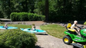 kayaks in the lawn